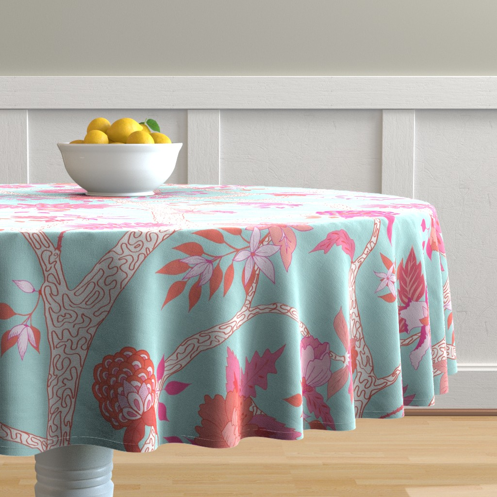 Malay Round Tablecloth featuring Peony Branch Mural- Pink and Orange on Aqua by danika_herrick