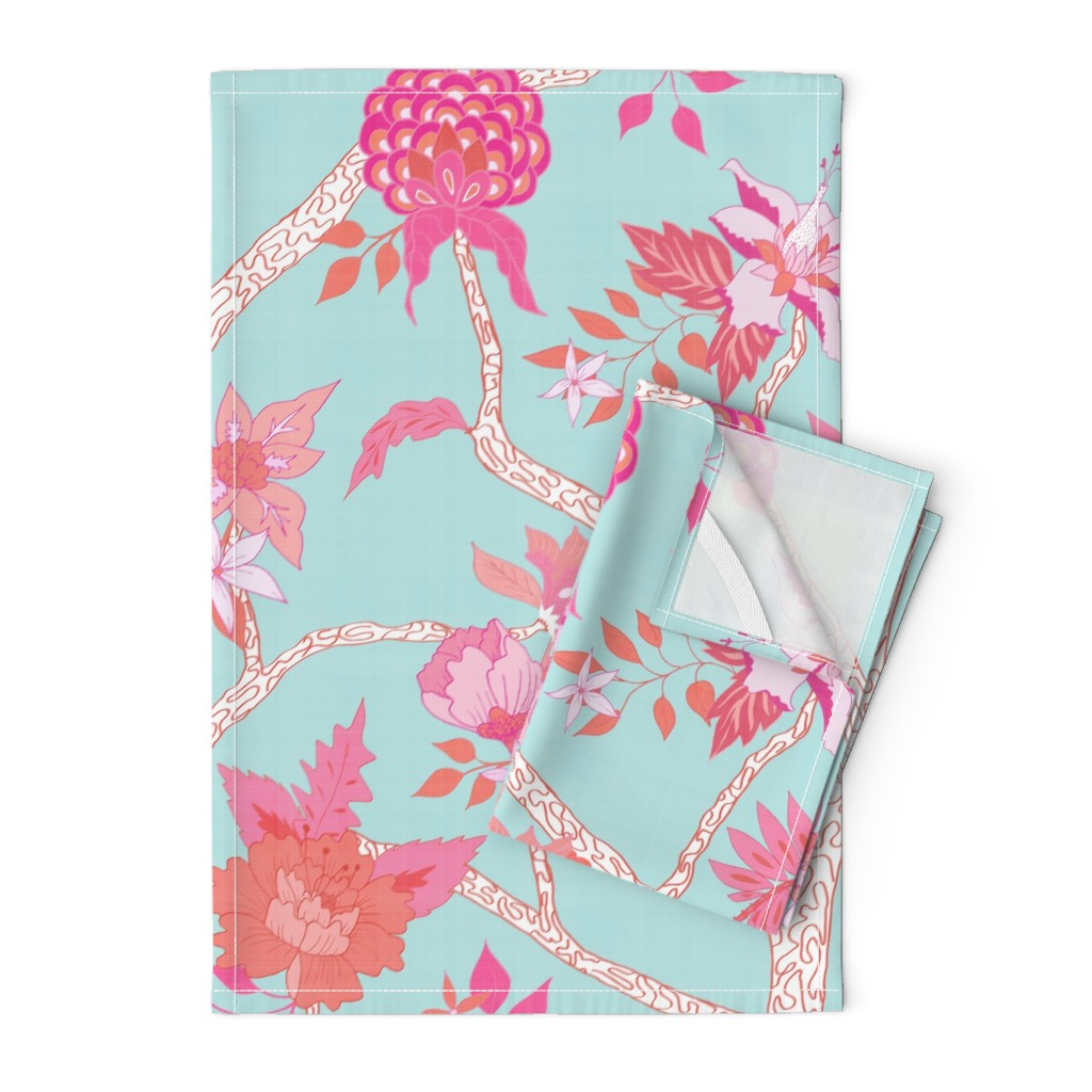 Orpington Tea Towels featuring Peony Branch Mural- Pink and Orange on Aqua by danika_herrick