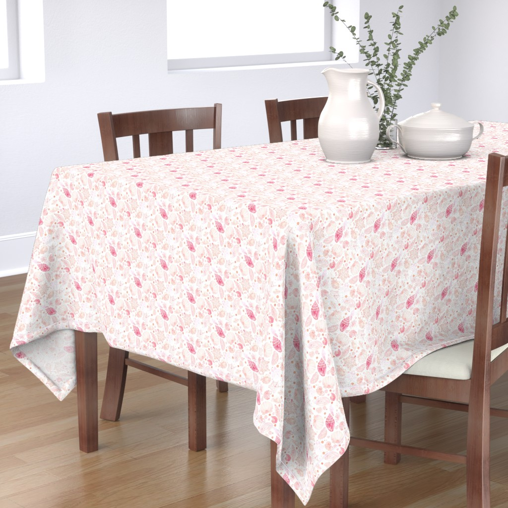 Bantam Rectangular Tablecloth featuring 18-08T Nautical Blush Coral Pink Sea Shell by misschiffdesigns