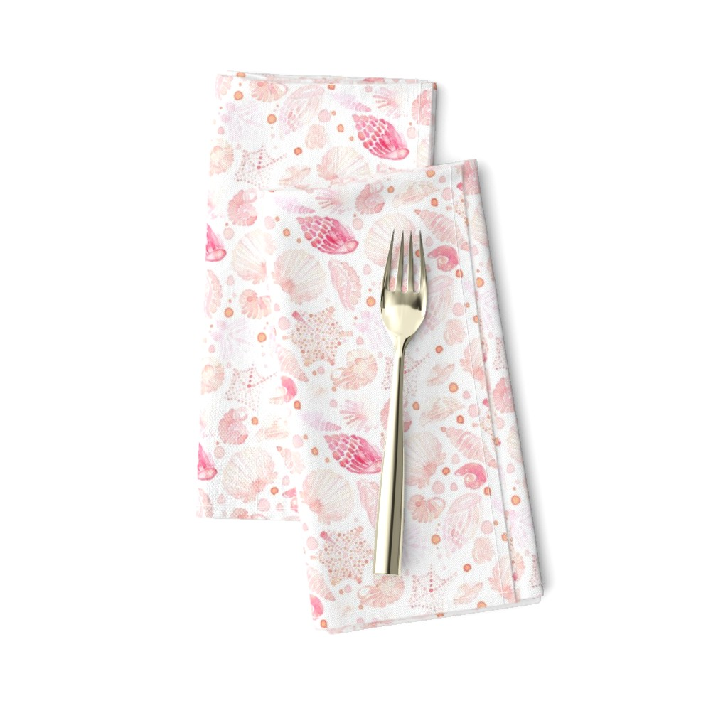 Amarela Dinner Napkins featuring 18-08T Nautical Blush Coral Pink Sea Shell by misschiffdesigns