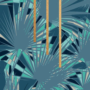 Tropical Art Deco 1. Blue Turquoise Gold