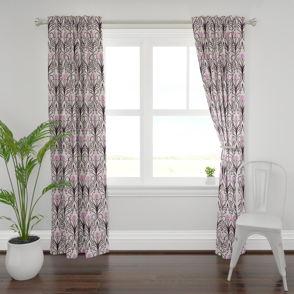 Plymouth Curtain Panel featuring Cherry Blossom Deco by stasiajahadi