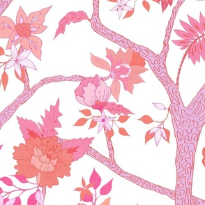 Peony Branch Mural- Pinks and Oranges