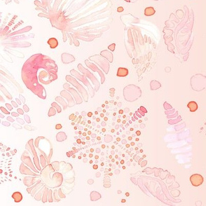 18-08R Watercolor Border Seashell Nautical Sea  Shell   || Pastel  Blush Pink Peach Coral Orange White Yellow Ocean Beach Baby Girl _ Miss Chiff Designs