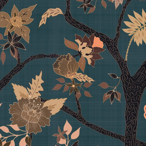 Peony Branch Mural-black, brown and blue