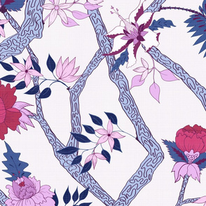 Peony Branch Mural Navy, Plum and Red