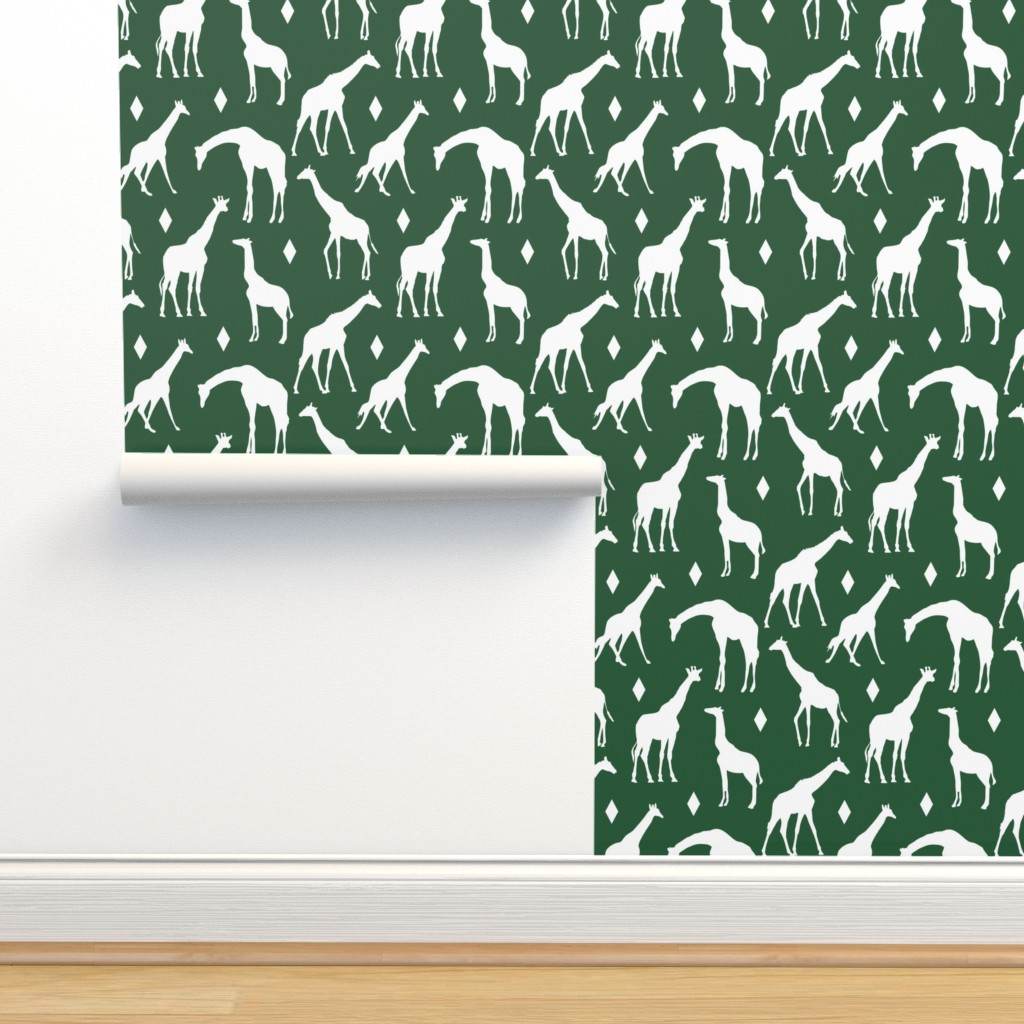 Isobar Durable Wallpaper featuring Giraffes on Green // Large by thinlinetextiles