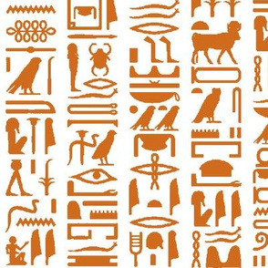 Orange Egyptian Hieroglyphics // Large
