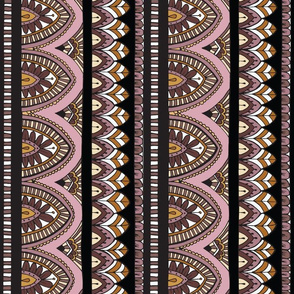 Bohemian Desert Blooms - Black and Rose - columns 14inch