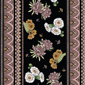 Bohemian Desert Blooms - Black and Rose