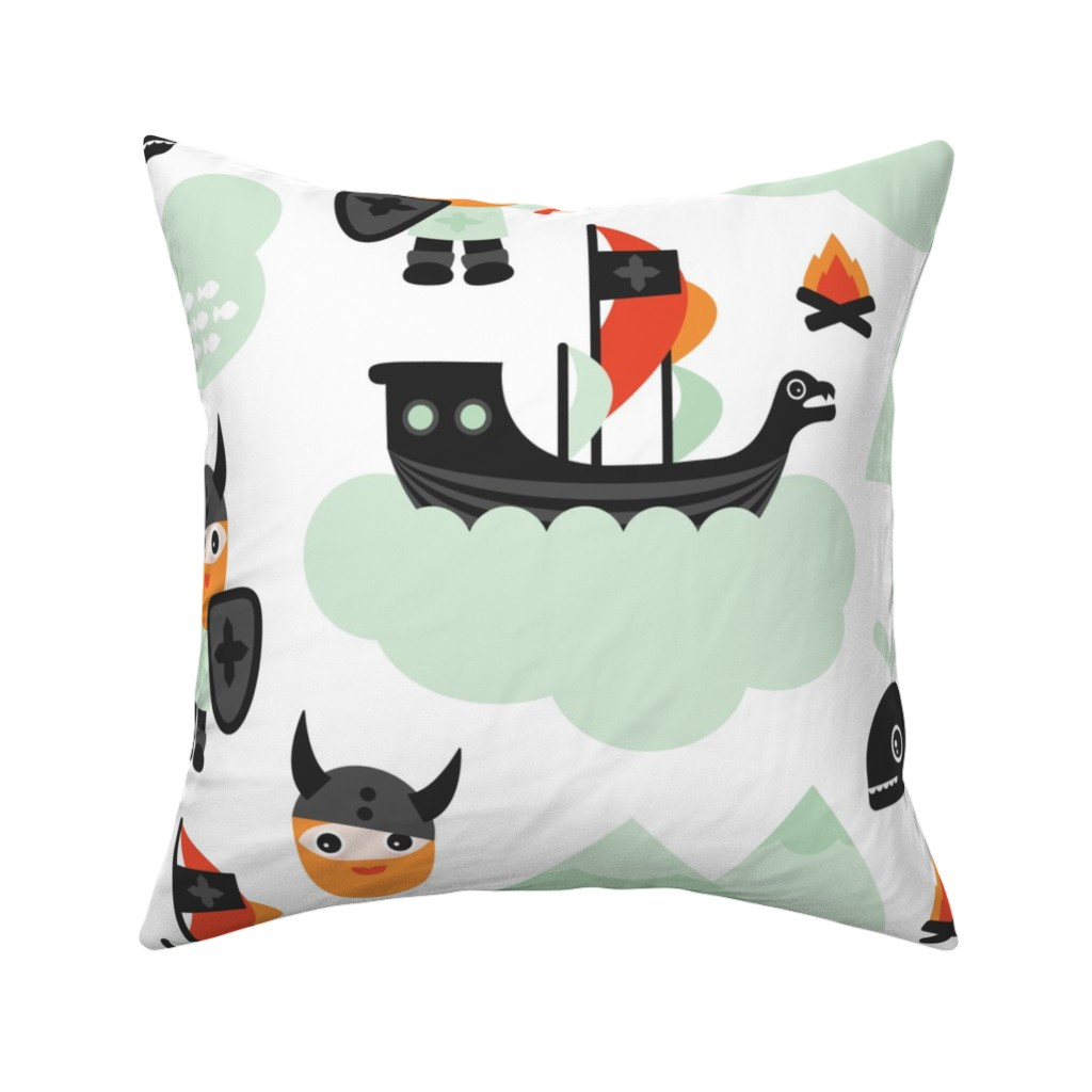 Catalan Throw Pillow featuring Large Cute kids historical hero theme viking battle ship whale and scandinavian woodland in mint and orange boys bedding and wallpaper Jumbo by littlesmilemakers
