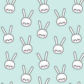 sleepy eyes bunny rabbit small blue