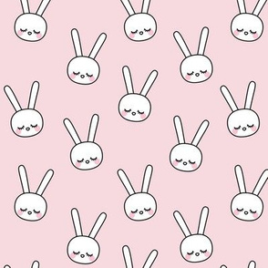 sleepy eyes bunny rabbit small pink