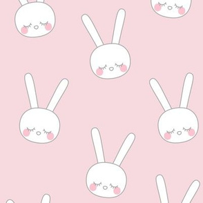 sleepy eyes bunny rabbit grey large pink