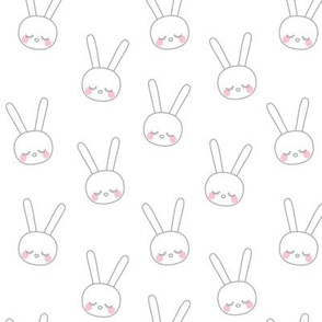 sleepy eyes bunny rabbit grey small