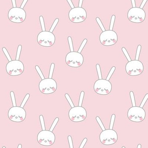 sleepy eyes bunny rabbit grey small pink