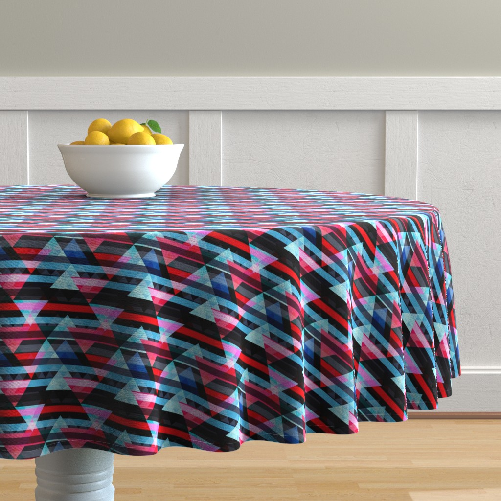 Malay Round Tablecloth featuring woven angles 2 by lapetitelecour