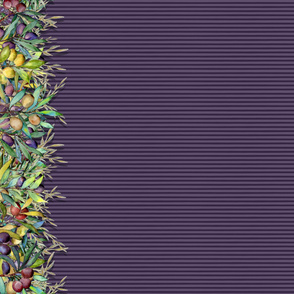 """42"""" PROVENCE OLIVE BORDER STRIPED red violet by FLOWERYHAT"""