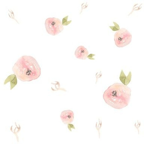 Bluch Pink Falling Flowers - Blush and Blue Floral Collection