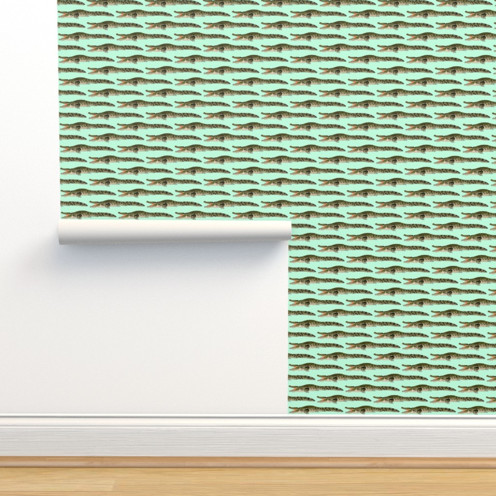 Isobar Durable Wallpaper featuring Open Mouth Crocodile in green by combatfish