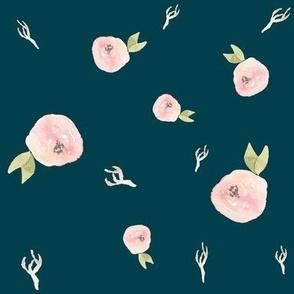 Blush Flowers on Blue