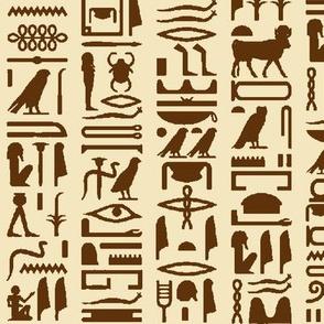 Egyptian Hieroglyphics in Brown & Tan // Large