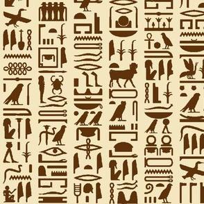 Egyptian Hieroglyphics in Brown & Tan // Small