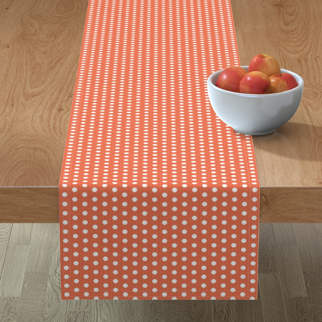 Minorca Table Runner featuring Dot dot: white on flame by Su_G by su_g