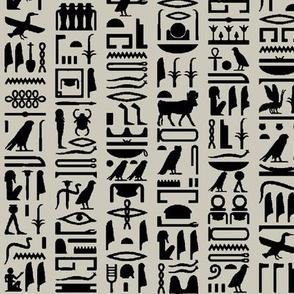 Egyptian Hieroglyphics on Light Taupe // Small