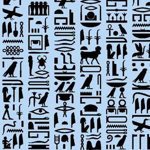 Egyptian Hieroglyphics on Light Blue // Small