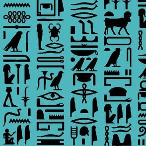 Egyptian Hieroglyphics on Turquoise // Large
