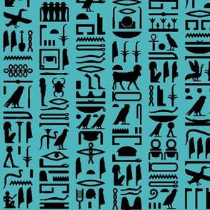 Egyptian Hieroglyphics on Turquoise // Small
