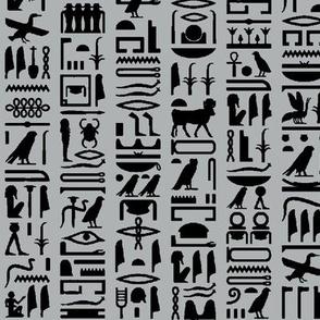 Egyptian Hieroglyphics on Grey // Small