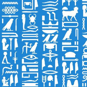 Egyptian Hieroglyphics on Blue // Large