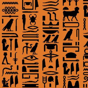 Egyptian Hieroglyphics on Orange // Large