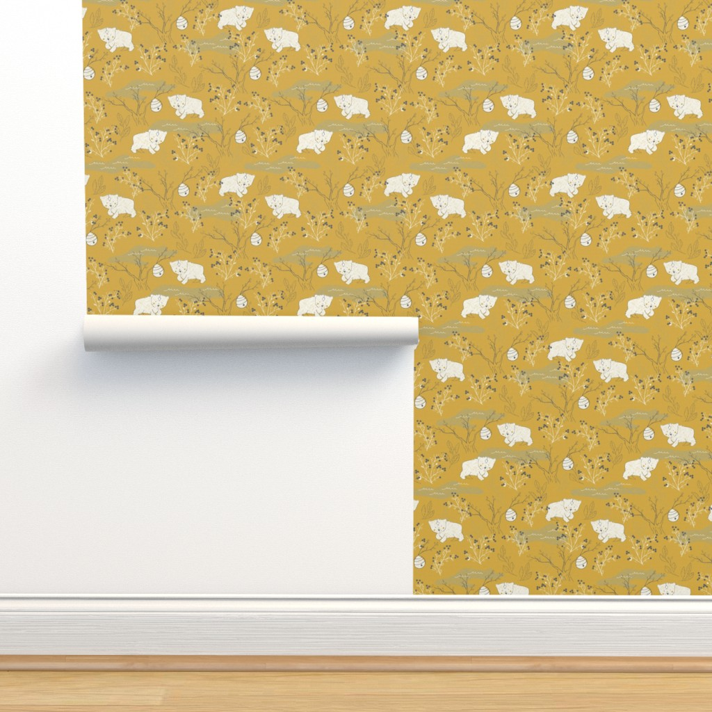 Isobar Durable Wallpaper featuring Foraging - Small Scale by papercanoefabricshop