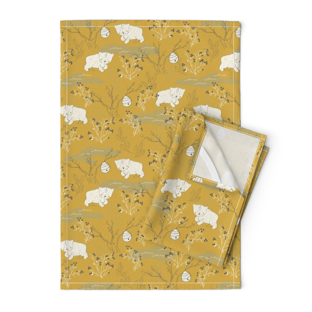 Orpington Tea Towels featuring Foraging - Small Scale by papercanoefabricshop
