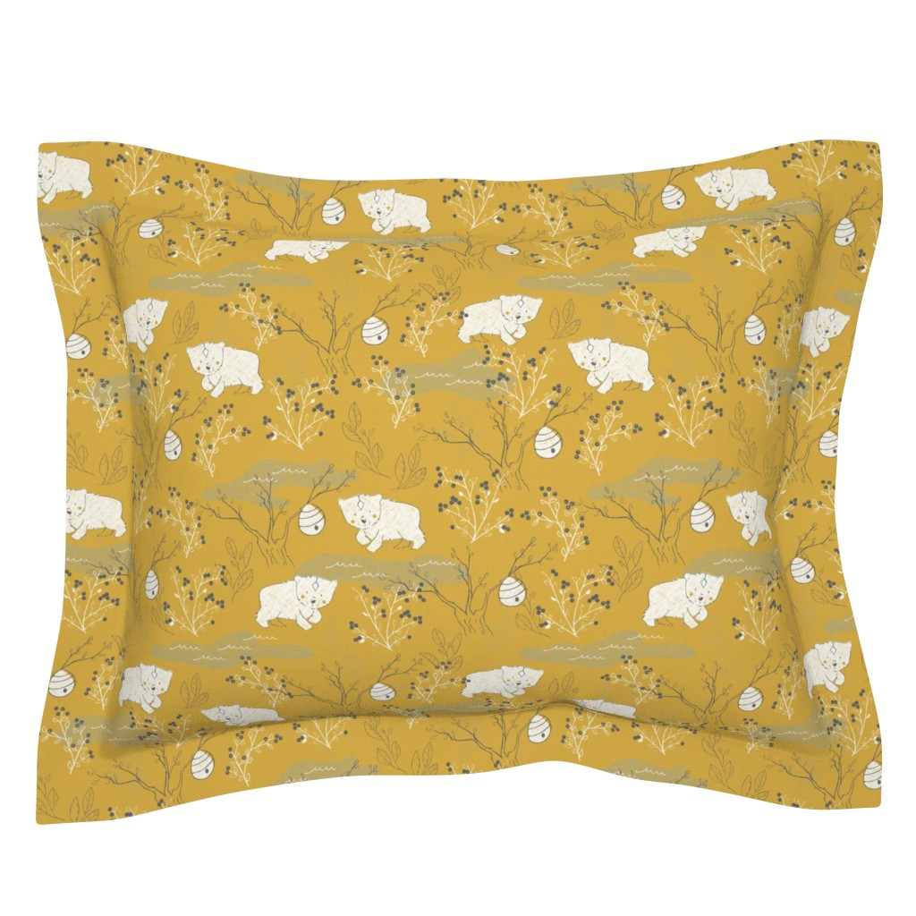 Sebright Pillow Sham featuring Foraging - Small Scale by papercanoefabricshop