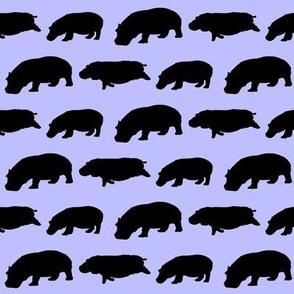 3 hippopotamus shadows in purple