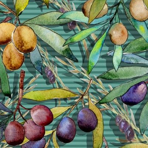 PROVENCE OLIVES AQUA MINT WATERCOLOR FLWRHT