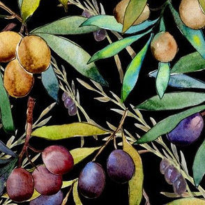 PROVENCE OLIVES WATERCOLOR  BLACK FLWRHT