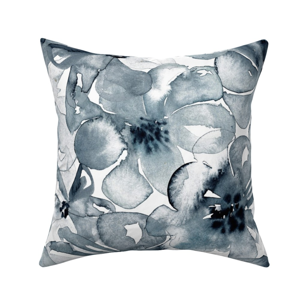 Catalan Throw Pillow featuring 18-08P Floral  Anemone Black Indigo Large Scale  Flower Botannical by misschiffdesigns