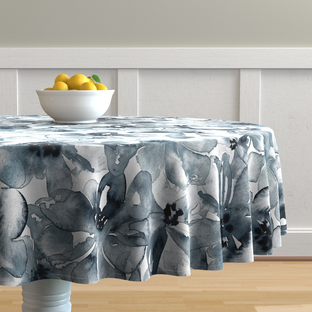 Malay Round Tablecloth featuring 18-08P Floral  Anemone Black Indigo Large Scale  Flower Botannical by misschiffdesigns