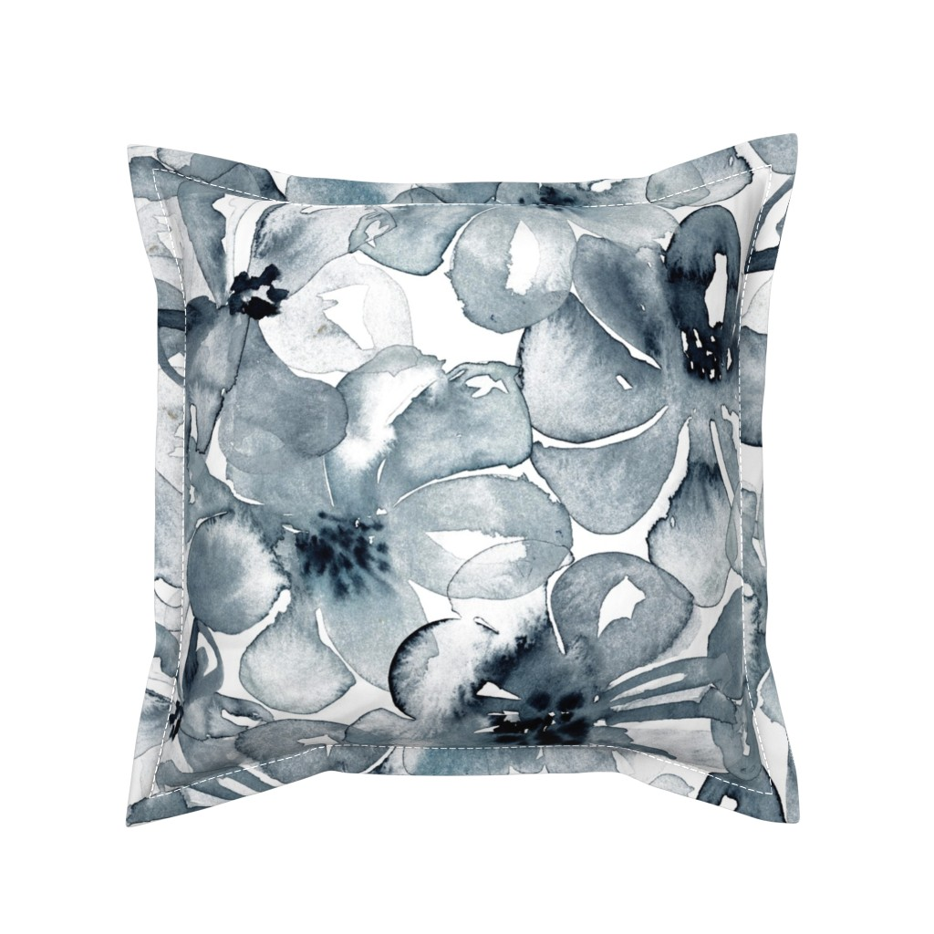 Serama Throw Pillow featuring 18-08P Floral  Anemone Black Indigo Large Scale  Flower Botannical by misschiffdesigns