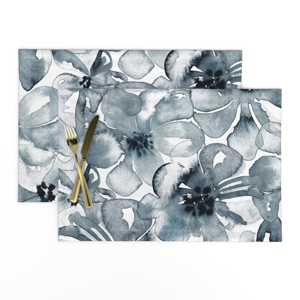 Lamona Cloth Placemats featuring 18-08P Floral  Anemone Black Indigo Large Scale  Flower Botannical by misschiffdesigns