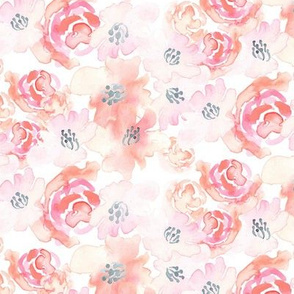 18-08N Blush Peach Pink Coral Gray Grey Watercolor Floral Stripe White Painted Flower _ Miss Chiff Designs