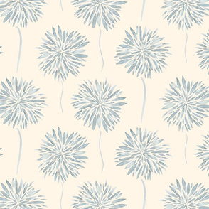 18-08K French Gray Grey Dusty Blue FLoral Watercolor Mum cream off white