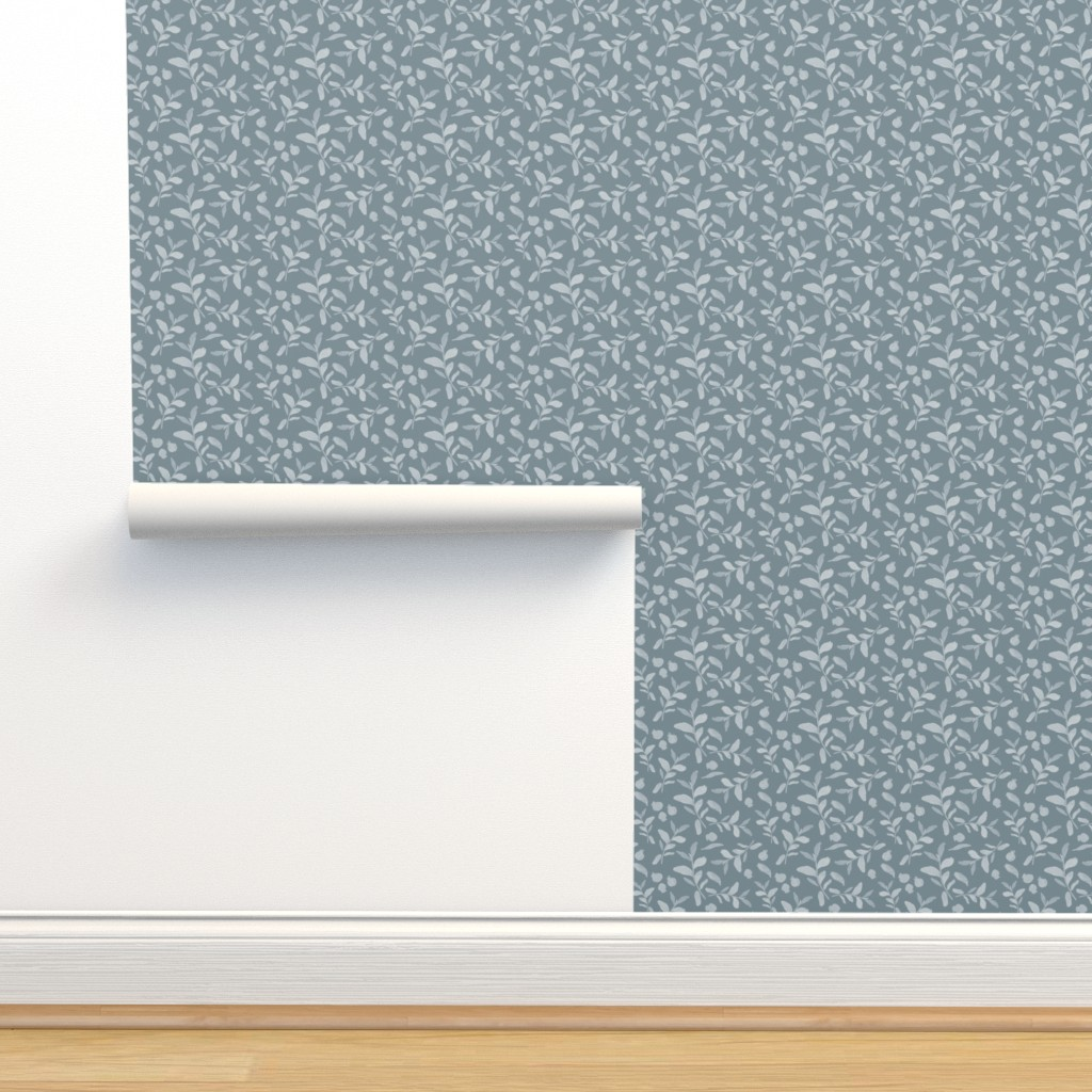 Isobar Durable Wallpaper featuring 18-08J Gray Blue Floral by misschiffdesigns