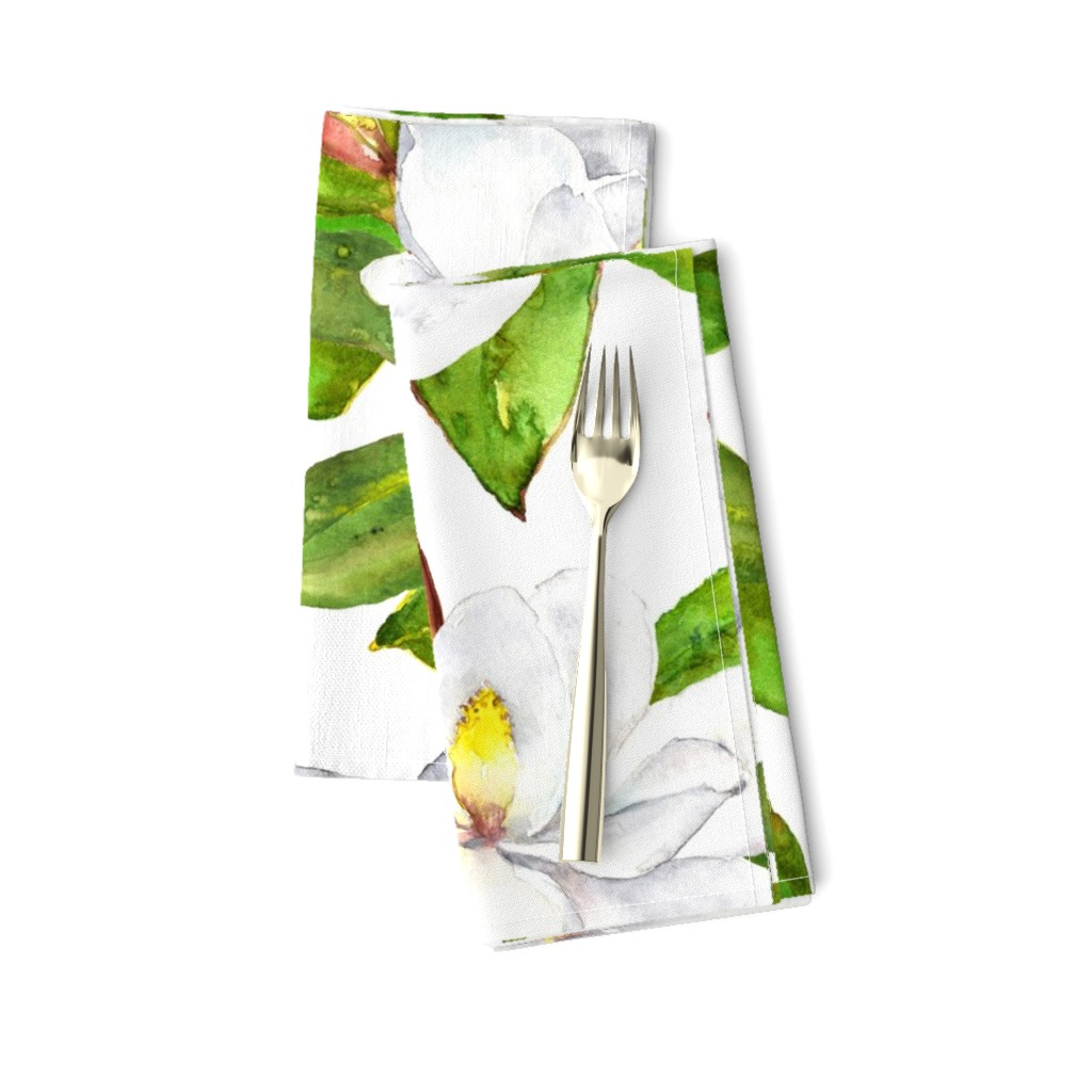 Amarela Dinner Napkins featuring Magnolia Flowers, Bright White, Large Floral Print by dixiemoon