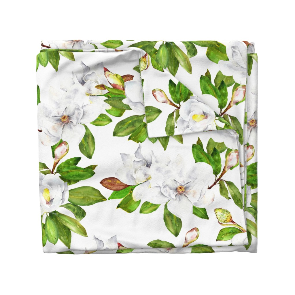 Wyandotte Duvet Cover featuring Magnolia Flowers, Bright White, Large Floral Print by dixiemoon